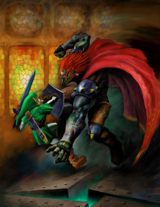 Link challenges Ganondorf in the final showdown - <i>Ocarina of Time 3D</i>