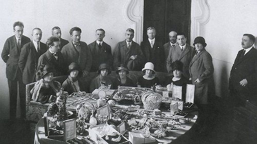 The Russian Imperial crown jewels and the committee assigned to select the pieces to be sold at Christie's in London in 1927.