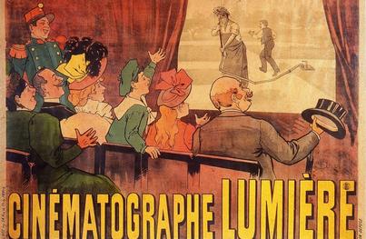 Deuxième affiche publicitaire réalisée à l'occasion des premières projections de cinéma des frères Lumière – la précédente était beaucoup plus confuse.