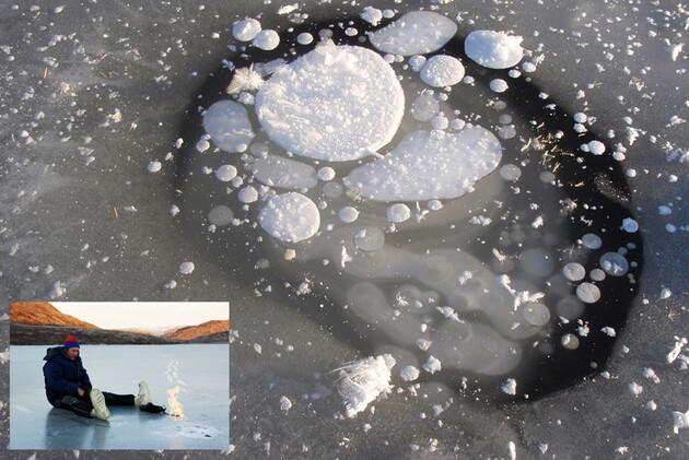 Les bulles de méthane gelées