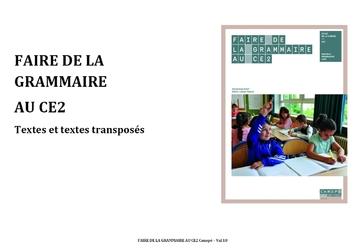 Faire de la grammaire au CE2 : textes et transpositions