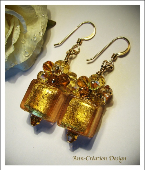 Boucles d'Oreilles Cubes Verre Murano authentique Feuille d'Or / Plaqué Or Gold Filled