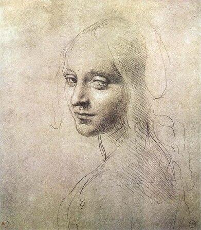 Dessin du portrait en buste d'une jeune femme dont le visage tourné par dessus l'épaule gauche fait face.