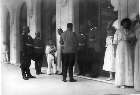 Tsarevich Alexei, Nicholas II and Grand Duchesses Anastasia and Olga at Livadia: 1912.