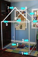 tuyaux pvc / ajouter rideaux de douches pour cabane ext.