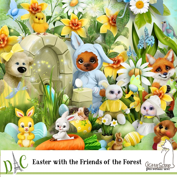 kit easter with the friends of the forest de kittyscrap