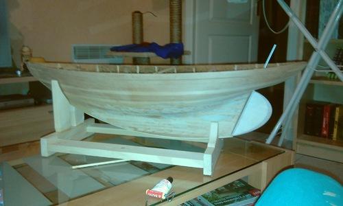 Réalisation de la coque de la maquette du Seabird,cotre aurique, Yacht de 1910