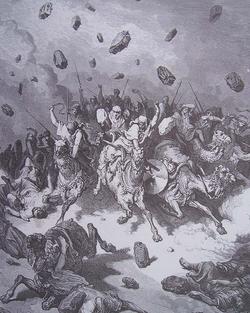 EL détruit l'armée des Amorites avec une grêle de pierres.