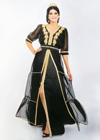 Takchita marocaine demi manches avec de la broderie haute couture avec caftan marocain col V TAK-S832