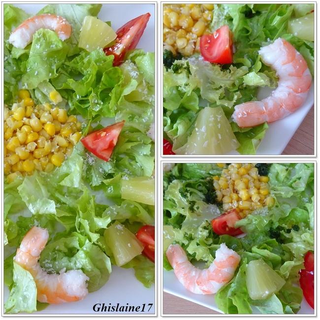 Salade Créole (crevette, ananas, coco)