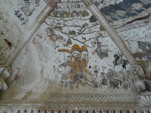 Lakshmi temple à Orccha; les peintures intérieures;