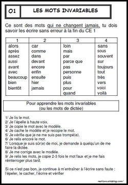 Leçon les mots invariables en CE1