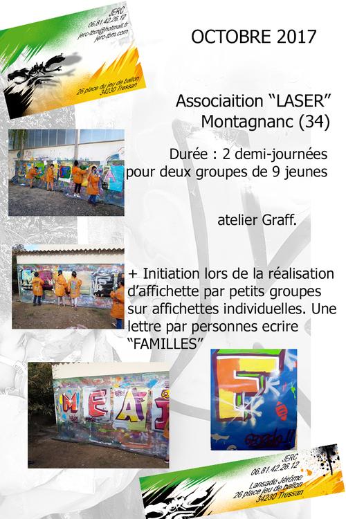 """atelier initiation graff realisation par groupe de 9 jeunes de l'association """"LASER"""" Montagnac (34) oct 2017 toutes les photos ici http://www.jerc-tbm.com/crbst_5.html"""