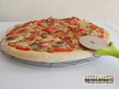 Pizza blanche : poulet / moutarde / champignons / poivron /mozzarella
