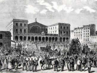 Illustration représentant la gare de l'Est à Paris