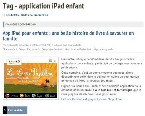 Applicatin iPad enfants
