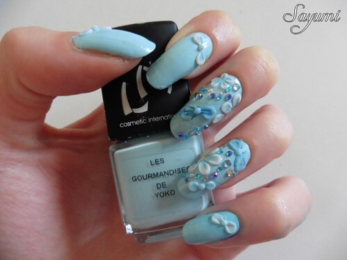 Nail Art 3D Kawaii Bleu
