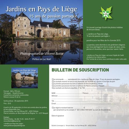Souscription pour le livre de Jardins en Pays de Liège