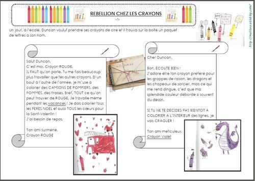 Littérature CE1: Rébellion chez les crayons