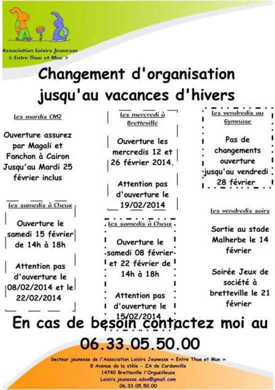 2014-02-07-Changement d'organisation jusqu'au vacances d'hiver