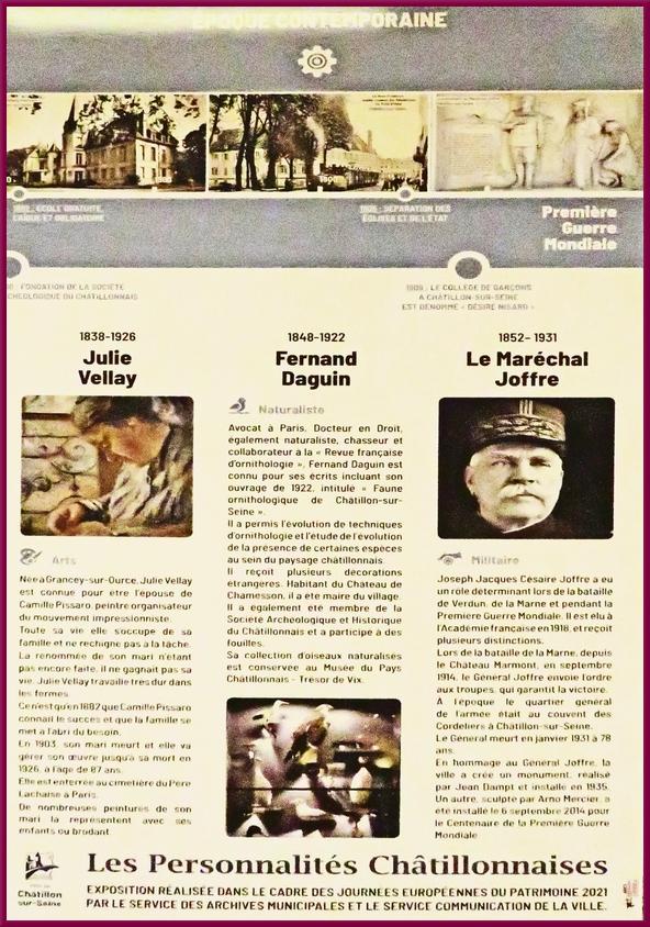 """""""Les Personnalités Châtillonnaises"""", une superbe exposition qui a eu lieu  lors des Journées du Patrimoine"""