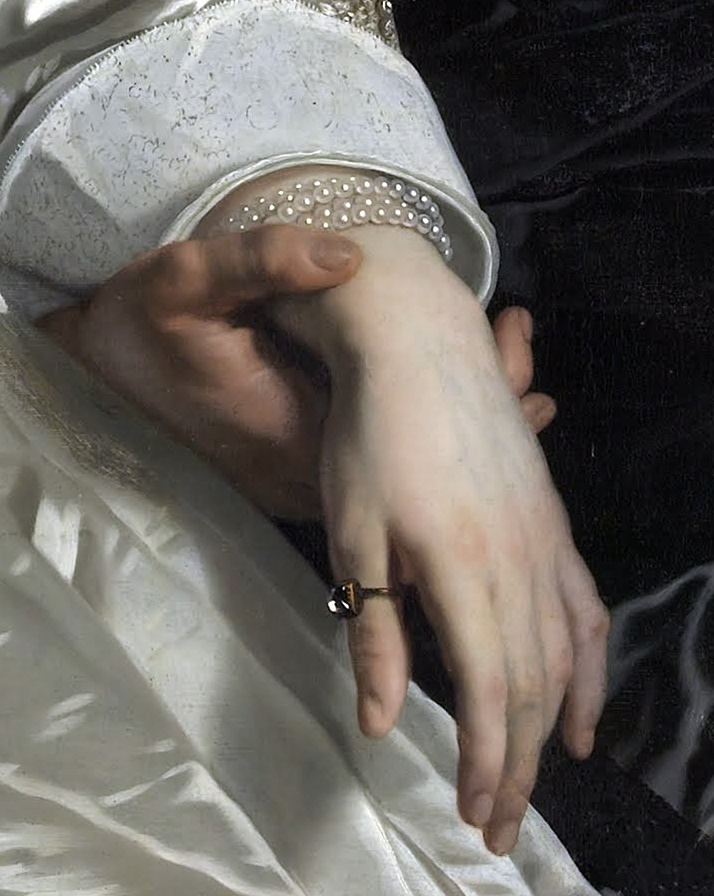 (Detail) Abraham del Court and his wife Maria de Kaersgieter,1654,Bartholomeus van der Helst.