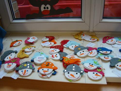 DECORATION DU SAPIN avec des petits bonhommes de neige
