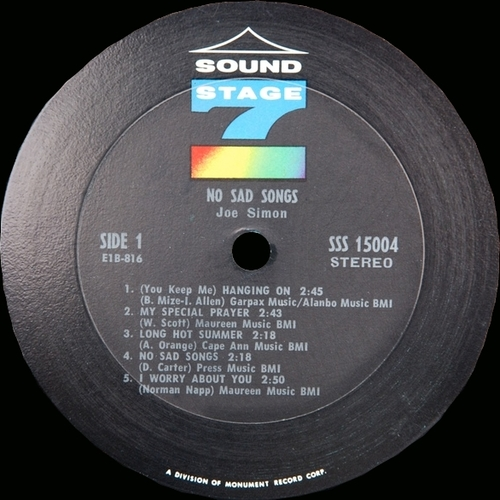 "1968 : Joe Simon : Album "" No Sad Songs "" Sound Stage 7 Records SSS-15004 [ US ]"