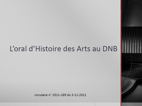 L'épreuve orale d'histoire des arts au DNB