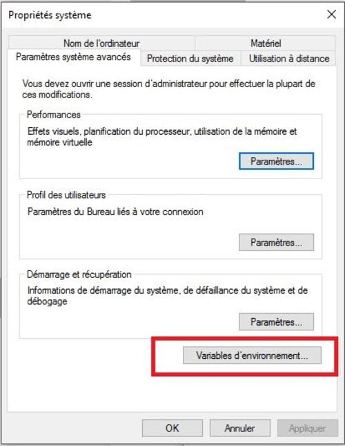 10 changer les variables d'environnement TEMP-TMP