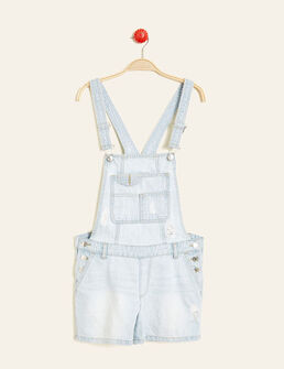 salopette short en jean bleach