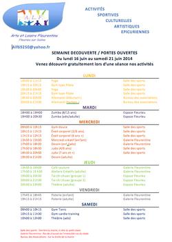 Semaine PORTE OUVERTE activités ALF du 16 au 21 juin