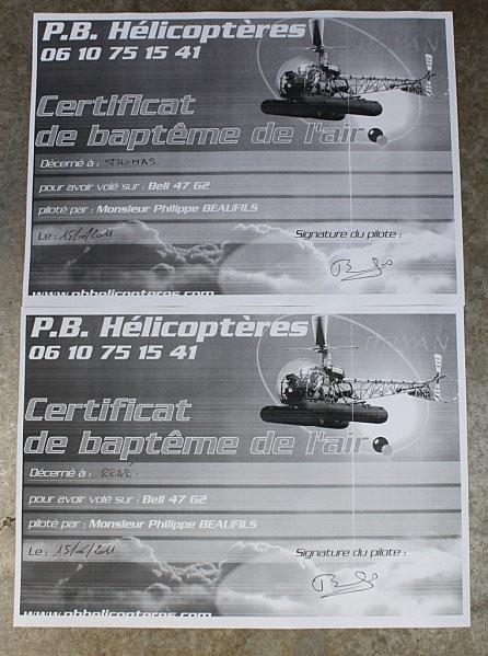 P.B.Hélicoptères Médis-Royan certificat baptême