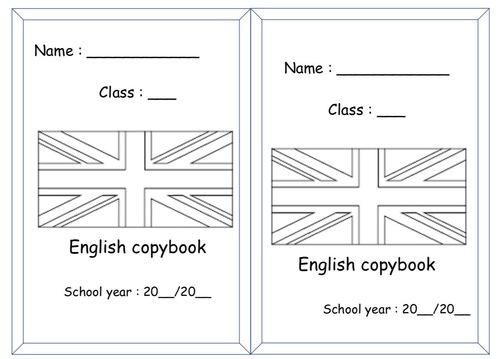 Page de garde du cahier d'anglais.
