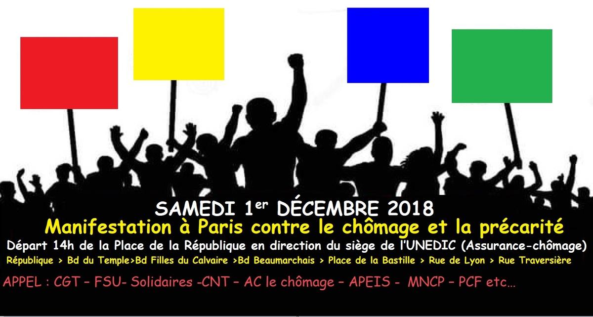 Samedi 1er décembre 2018 : MANIFESTATION à PARIS contre le chômage et la précarité - RV place de la République à 14 h -