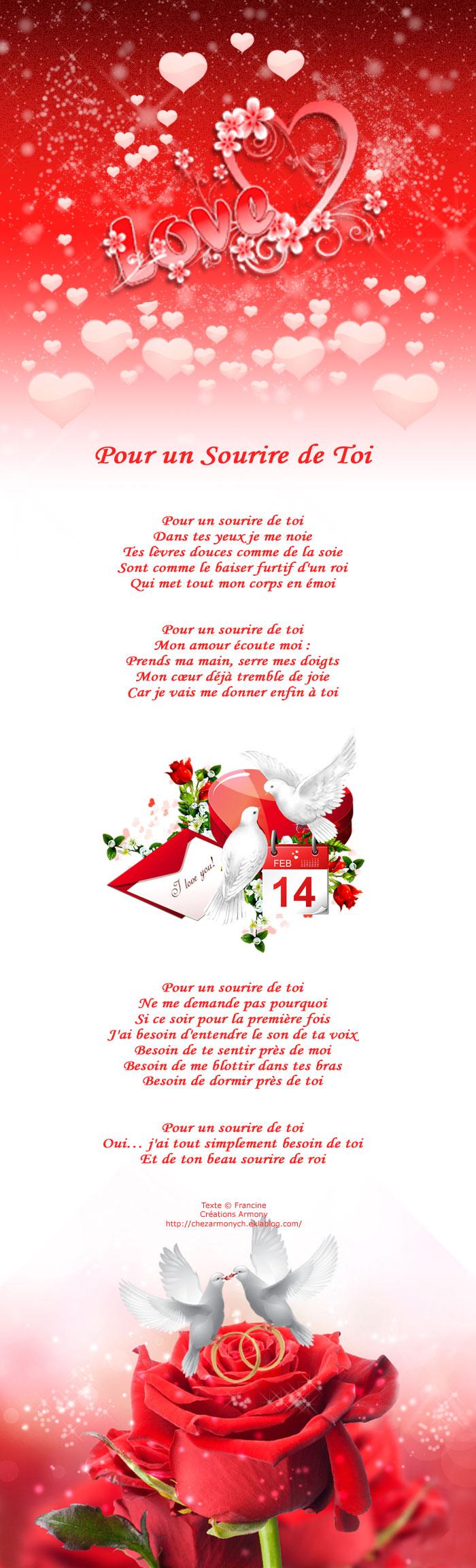 Poème st-valentin Pour un sourire de toi