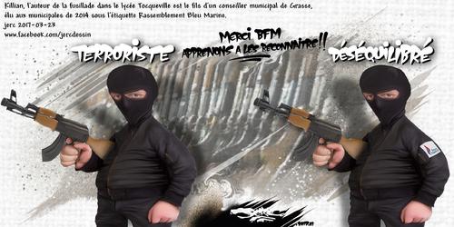 dessin de JERC jeudi 23 mars 2017 caricature produit du FN Le terrorisme : programme éducatif du FN www.facebook.com/jercdessin