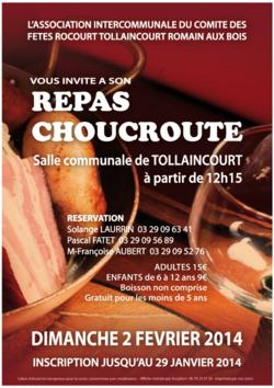 AFFICHE pour le comité des fêtes Rocourt-Tollaincourt-Romain-aux-bois (ou comment se bâffrer de façon conviviale)