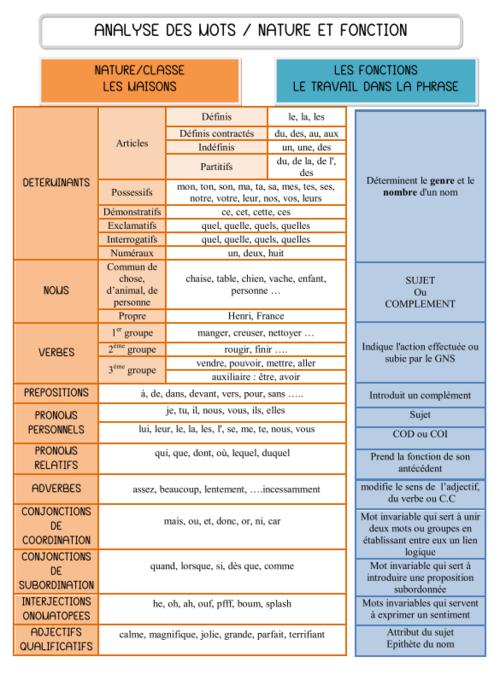 français : analyse de mot - grammaire - cm