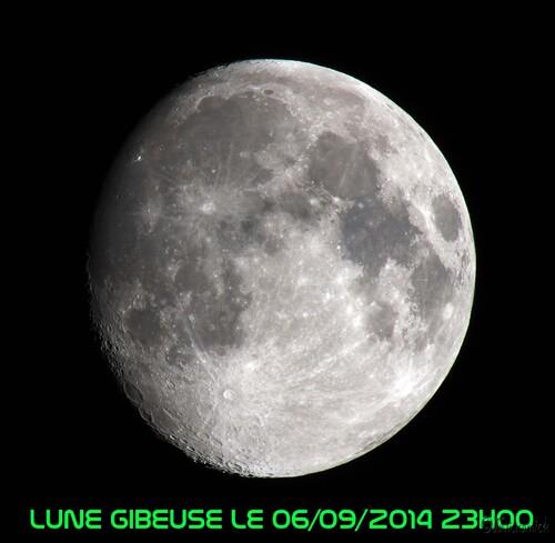 Un essai fait deux jours plus tôt. La surface de la lune est éclairée à 93% et elle se trouve à 363409 km de la terre.