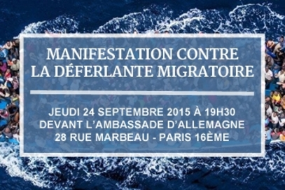 Paris, jeudi 24 septembre, 19h30 : manifestation contre la déferlante migratoire devant l'ambassade l'Allemagne