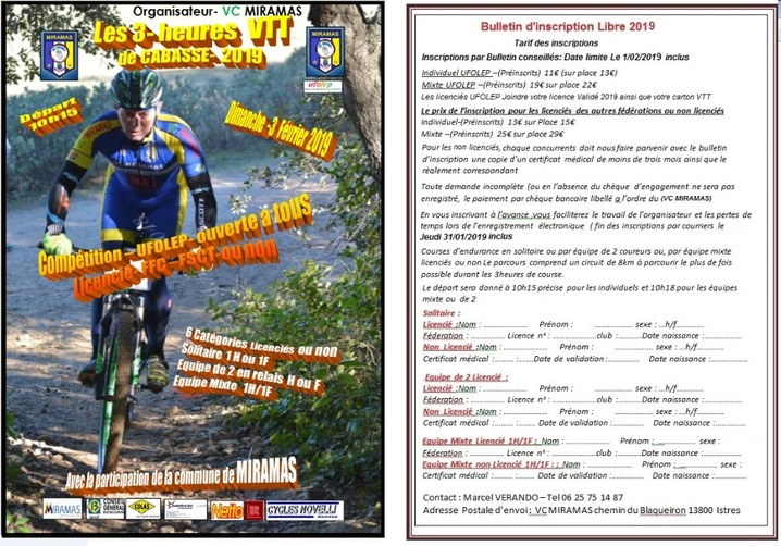Bulletin d'inscription Libre