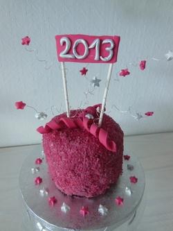"""recto du mini gâteau """"girly"""" pour le réveillon du 31 décembre"""