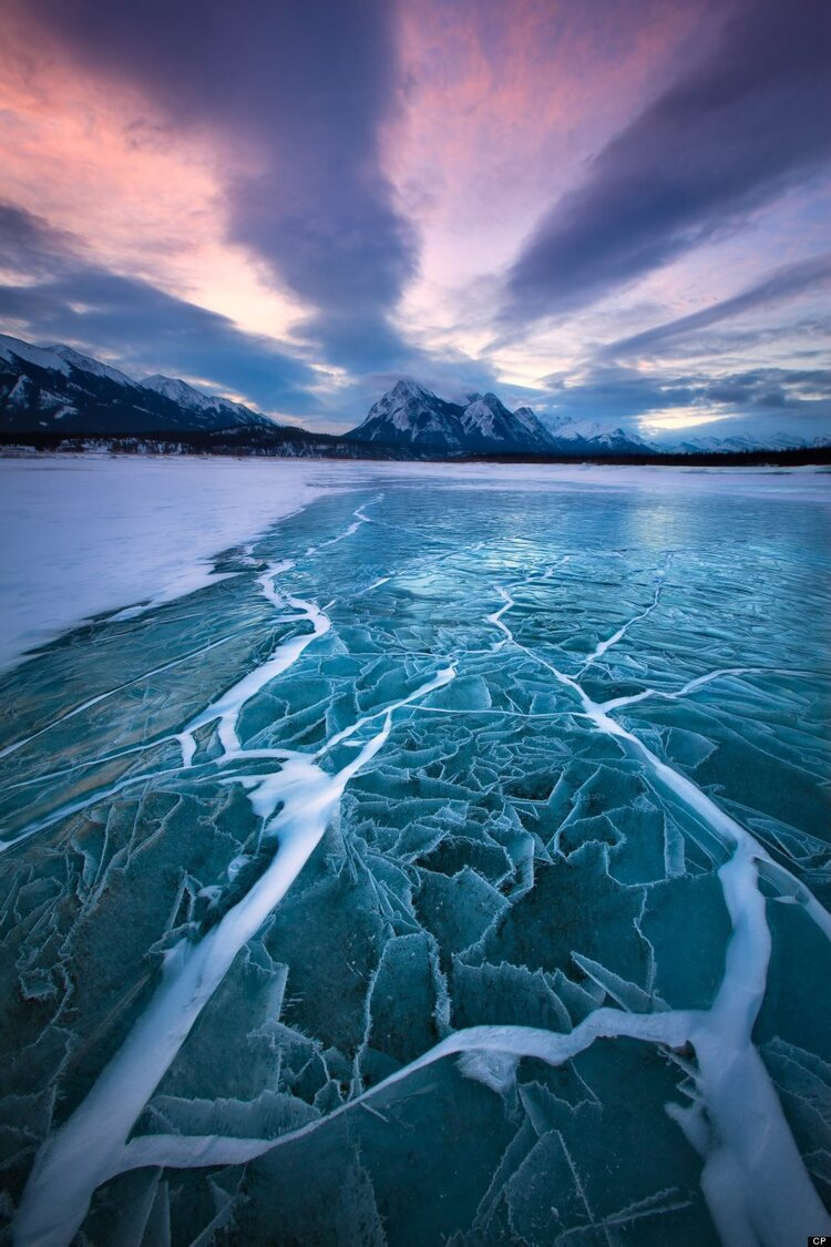 Incredible images of ice bubbles, Abraham Lake, Canada - 28 Jan 2013