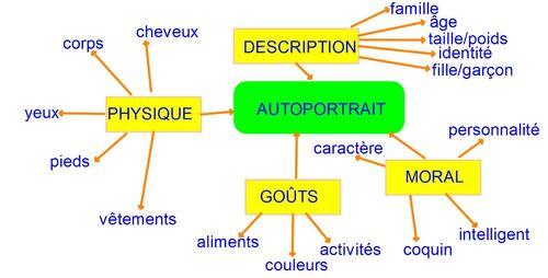 Français - carte mentale - autoportrait