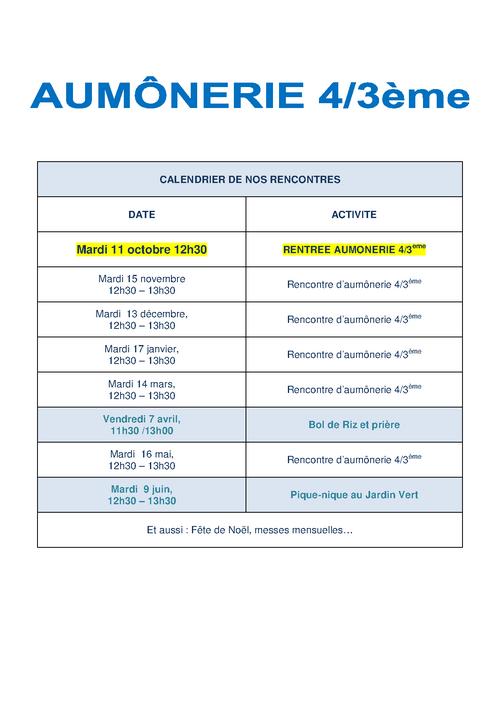 Aumônerie 4/3ème : Informations et date de rentrée (2016 / 2017)