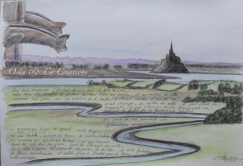 Croquis aquarelle et stylo bille Mont Saint Michel,Gargouilles et vue de la baie