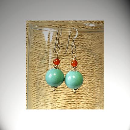 Boucles d'oreilles Pierre de Turquoise Naturelle et Cornaline rouge  / Plaqué or Gold filled