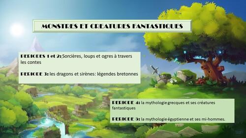 organigramme du projet MONSTRES ET CREATURES FANTASTIQUES