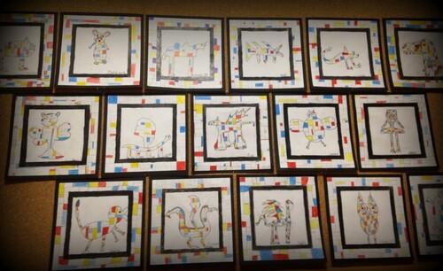 Musette Souricette - A la manière de Seurat et de Mondrian